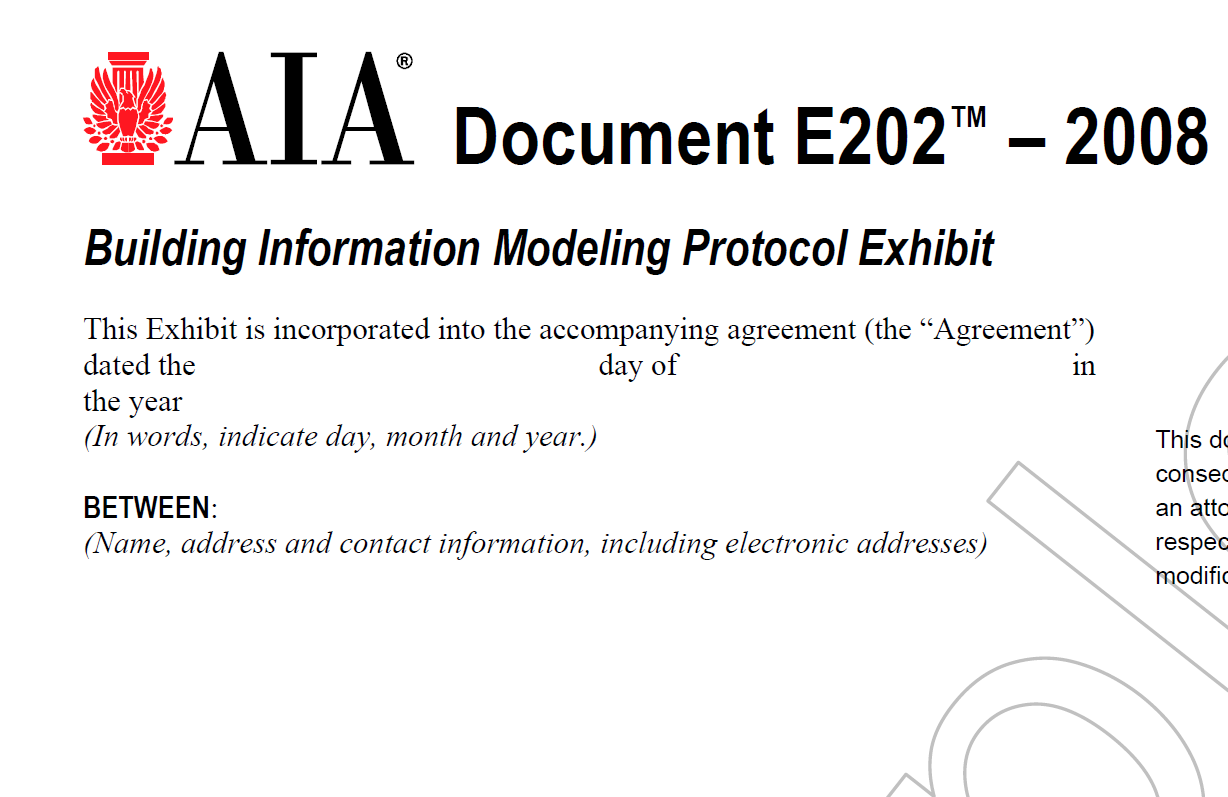 building information modeling protocol exhibit by the The protocol is intended to be incorporated into contracts between employers and project team members the primary objective of the protocol is to enable the production of building information models in a common way at defined stages of a project.